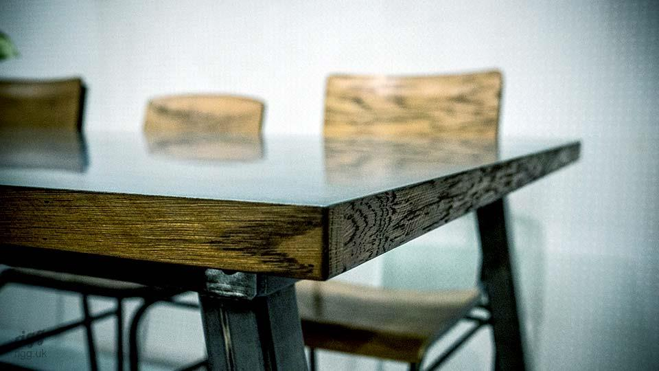 Zinc Table with Oak Edge & Raw Metal Legs