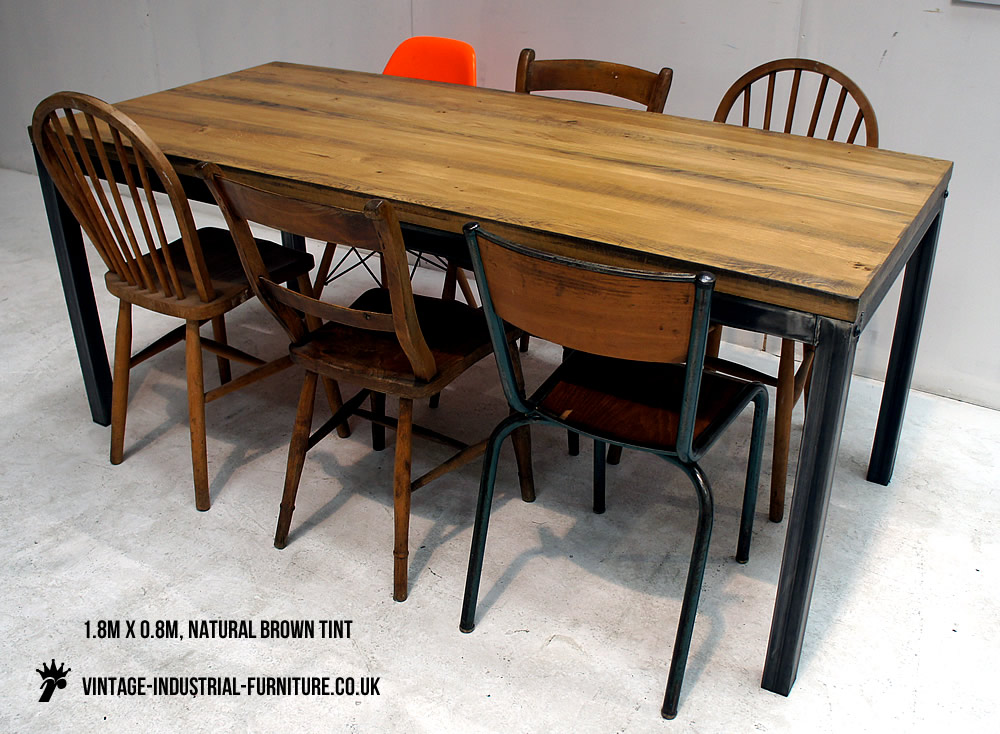 vintage industrial oak table. Black Bedroom Furniture Sets. Home Design Ideas