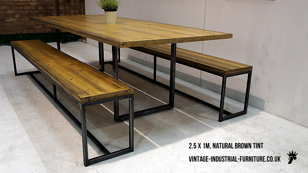 Industrial loop leg dining table for Best dining tables uk