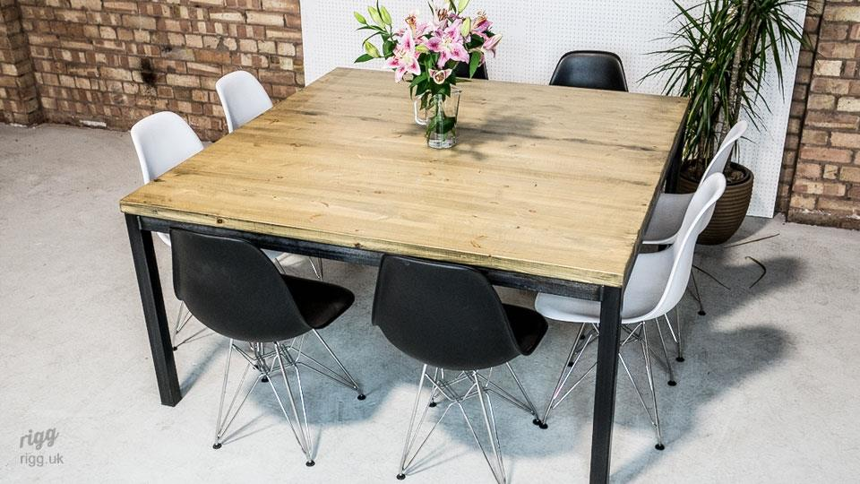 Square vintage industrial meeting table