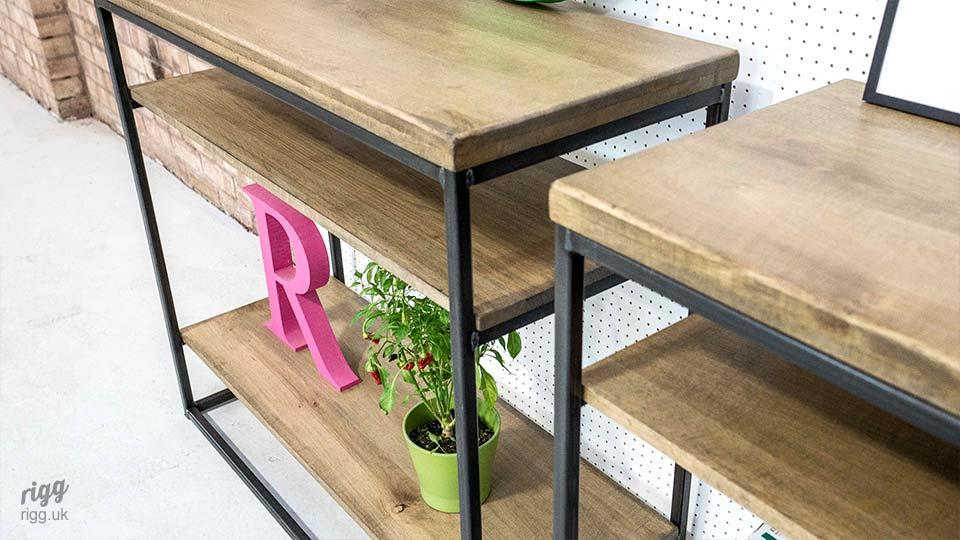 Industrial Hall Table with Shelf