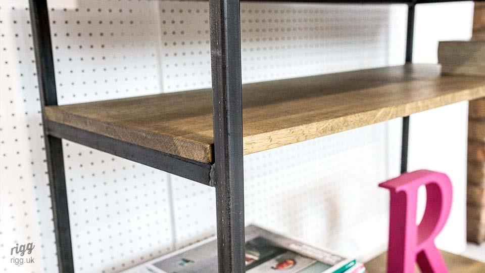 Narrow Industrial Table with Shelf