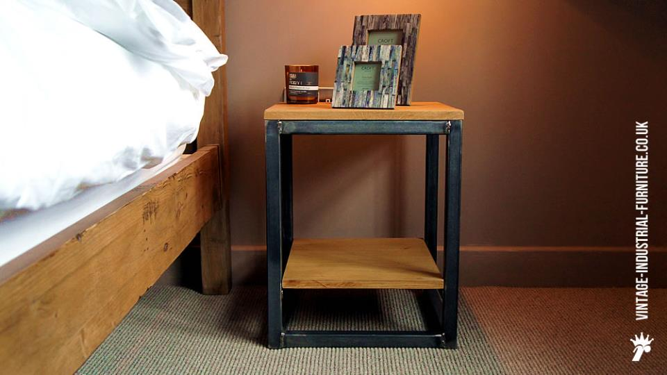 Vintage Industrial Side Table with Shelf